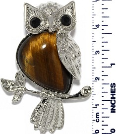 Owl Silver Metallic Brown Tiger's Eye Quartz Pendant PD002