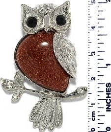 Owl Branch Silver Metallic Sparkling Brown Gold Pendant PD003