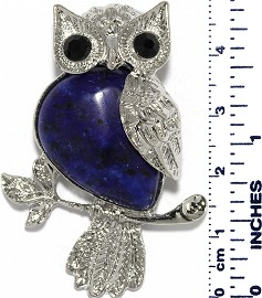 Owl Branch Silver Metallic Dark Blue Quartz Pendant PD005