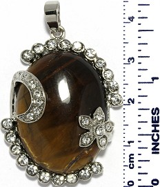 Oval Rhinestone Flower Brown Tiger's Eye Quartz Pendant PD008
