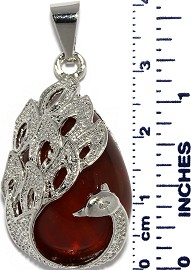 Phoenix Peacock Bird Stone Tear Drop Pendant Si Dark Red PD011