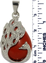 Phoenix Peacock Bird Stone Tear Drop Pendant Silver Red PD013