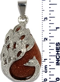 Phoenix Peacock Tear Pendant Silver Sparkling Brown Gold PD013