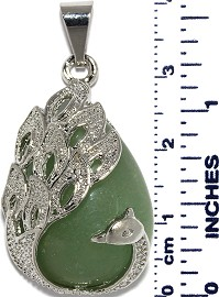 Phoenix Peacock Tear Drop Pendant Silver Jade Green PD015
