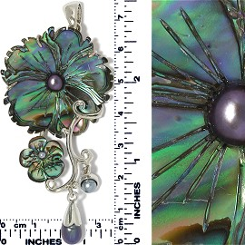 Abalone Pendant Flower Silver Green Purple AB PD018
