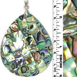 Abalone Pendant Tear Drop Square Tiles Multi Green PD019