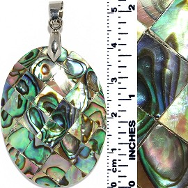 Oval Square Tiles Abalone Pendant Multi Color Green PD022