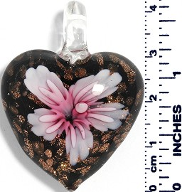 Glass Pendant Heart Flower Gold Black Light Pink PD024