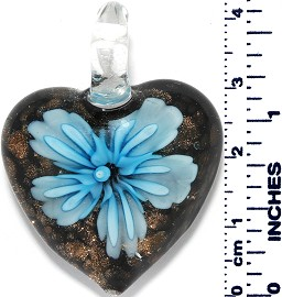 Glass Pendant Heart Flower Gold Black Light Turquoise PD025