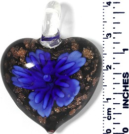 Glass Pendant Heart Flower Gold Black Blue PD026