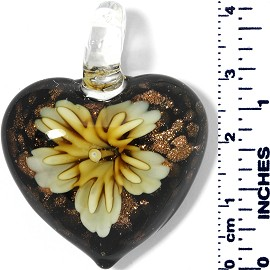 Glass Pendant Heart Flower Gold Black Yellow PD028