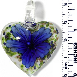 Glass Pendant Heart Flower White Green Gold Blue PD030