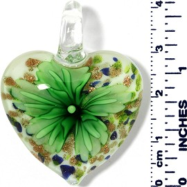 Glass Pendant Heart Flower White Blue Gold Green PD031
