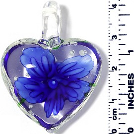 Glass Pendant Heart Flower Clear Green Blue PD033