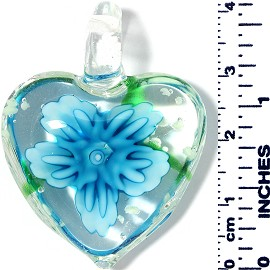 Glass Pendant Heart Flower Clear Green Turquoise PD034