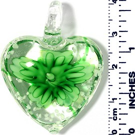Glass Pendant Heart Flower Clear Green PD035