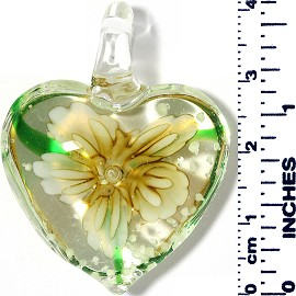 Glass Pendant Heart Flower Clear Light Yellow PD036