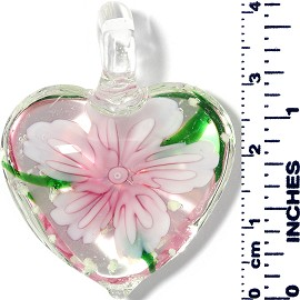 Glass Pendant Heart Flower Clear Green Light Pink PD037