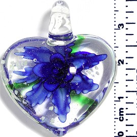 Glass Pendant Heart Flower Clear Green Blue PD039