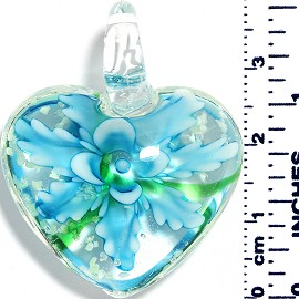 Glass Pendant Heart Flower Clear Green Turquoise PD040