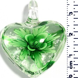 Glass Pendant Heart Flower Clear Green PD043