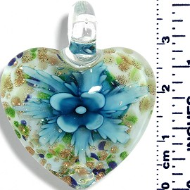 Glass Pendant Heart Flower White GreenBlueGold Turquoise PD046