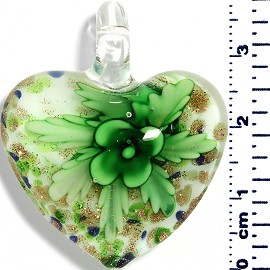Glass Pendant Heart Flower White Blue Gold Green PD049
