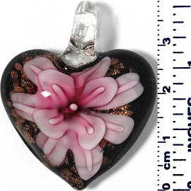 Glass Pendant Heart Flower Black Gold Pink Magenta PD050