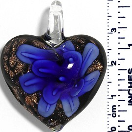 Glass Pendant Heart Flower Black Gold Blue PD052