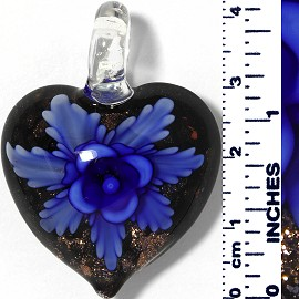 Glass Pendant Heart Flower Black Gold Blue PD053