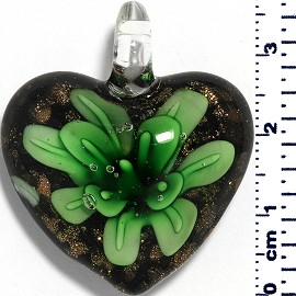 Glass Pendant Heart Flower Black Gold Green PD055