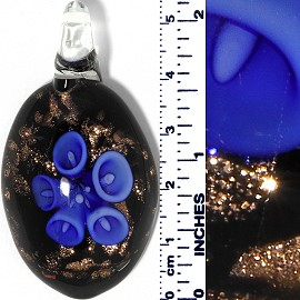 Glass Pendant Oval Flower Gold Black Blue PD068