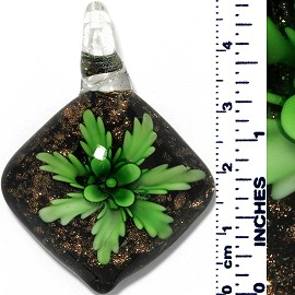 Glass Pendant Flower Square Dome Gold Black Green PD071