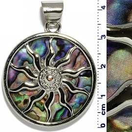 Circle Pendant Sun Wheel Green Purple Metallic Silver Tone PD072