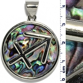 Circle Pendant Archer Green Purple Metallic Silver Tone PD073