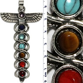 Indian Metallic Pendant Eagle Spirit Totem Pole Silve Tone PD075