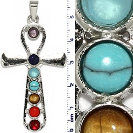 Ankh Eternal Circle Cross Pendant Multi Color Silver Tone PD076