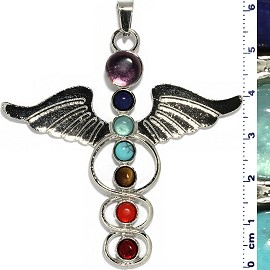 Angel Wings Circle Gems Pendant Metallic Silver Tone PD077