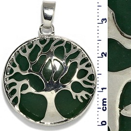 Circle Pendant Tree Of Life Silver Dark Green Tone PD078