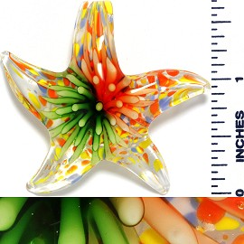 Glass Pendant Flower Starfish Clear Orange Green PD1035