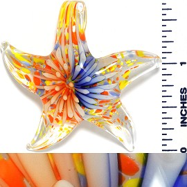 Glass Pendant Flower Starfish Clear Orange Blue PD1036