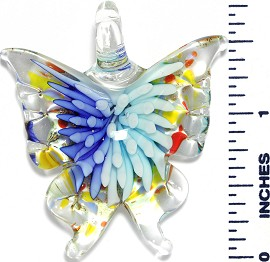 Glass Pendant Flower Butterfly Clear Blue Turquoise PD1040