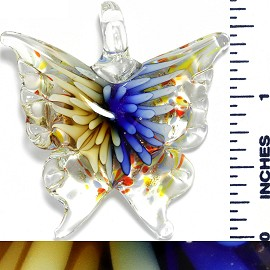 Glass Pendant Flower Butterfly Clear Cream Blue PD1043