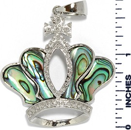 Abalone Pendant Crown Silver Green PD1054
