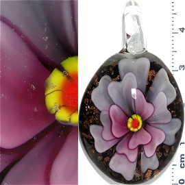 Glass Pendant Flower Oval Black Gold Pink PD1084