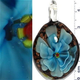 Glass Pendant Flower Oval Black Gold Turquoise PD1088