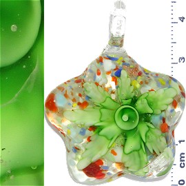 Glass Pendant Flower Round Star Clear Green PD1090