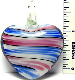 Blue Pink White Heart Glass Pendant PD1099