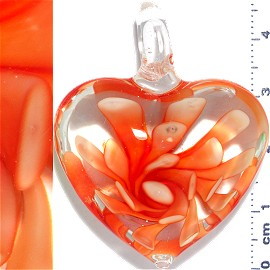 Glass Pendant Flower Big Heart Clear Orange PD1103