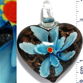 Glass Pendant Flower Heart Black Gold Turquoise PD1105